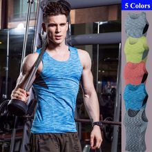 S-XXXL Running T shirt GYM Sportswear Wicking Shirts Top Men Training Vest Sleeveless Fitness Tight Quick Dry Shirt(China)