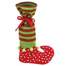 2016 Santa Gift Sock Christmas Decoration Satin Children Gift Bag Elf Foot Polka Dot Christmas Giving Candy Bag Christmas Socks
