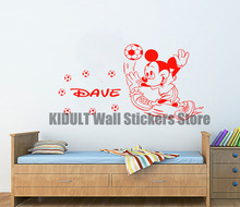 Mickey Mouse Cartoon Wall Stickers Children's Bedroom Family Indoor Football Shape Flat Wall Decor Vinyl Wall Decals Multicolor