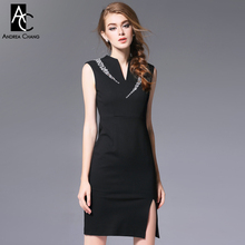 spring autumn runway designer womens dresses black slim dress beading shoulder v-neck side split fashion sexy work brand dress