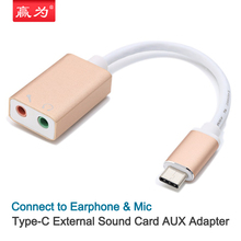 Type C to 3.5 Audio Cable Conversion Line Phone  AUX 5.1 Channel Sound Card Earphone Microphone Headset Adapter Type-C MacBook