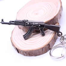 2017 Hot Game Pendant Keyrings Pop Game CF Cross Fire AK47 Gun Key Chains Weapon Model Metal Pendant Keychain Metal Key Ring(China)
