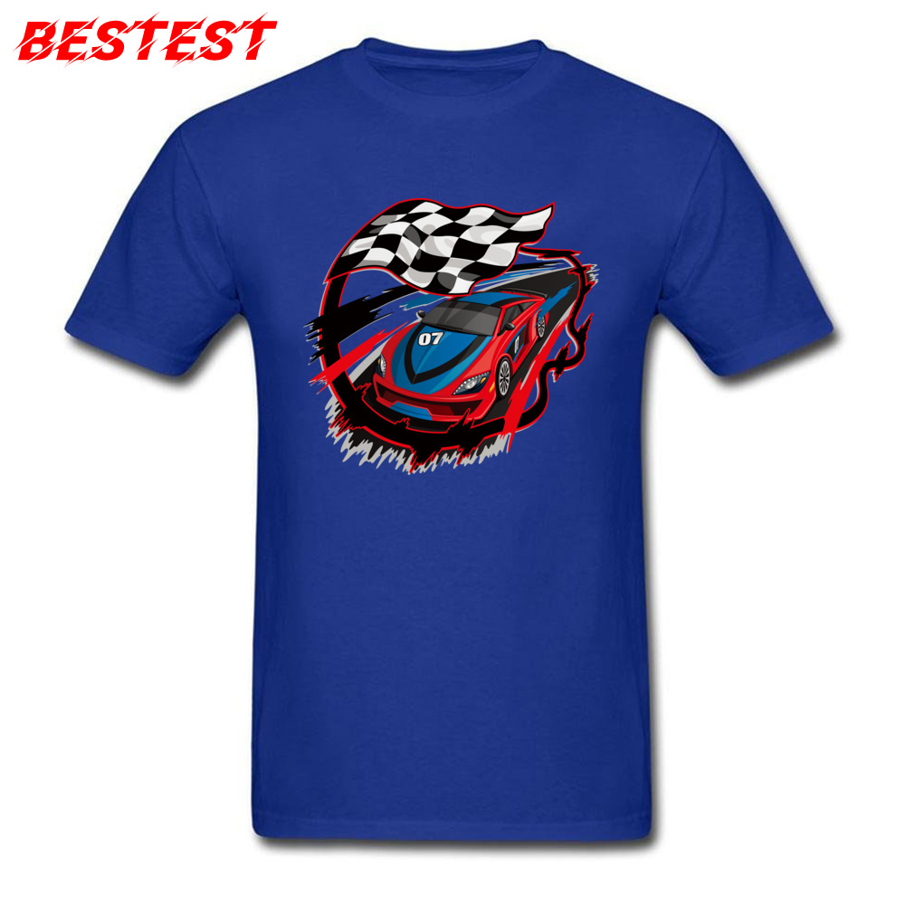 2018 auto racing checkered flag Short Sleeve T-shirts Labor Day Round Neck Cotton Fabric Tops Shirt for Men Tops Shirts Birthday auto racing checkered flag blue