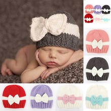 Puseky 2017 New Bowknot Girls Baby Hat Crochet Handmade Photography Props Knitted Cute Newborn Winter Hat For Baby Girl Cap