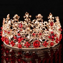 Baroque Vintage Gold Bridal Queen Rhinestone Round Crown Bride Hair Jewelry Crystal Beads Red Big Tiara Wedding Hair Accessories