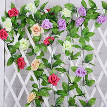 2.4 M Silk Roses Flower Artificial Vine Flowers With Green Leaves For Home Wedding Party Supplies Decoration Accessories X-5