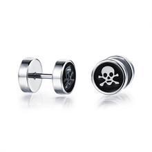 LINSOIR 2017 Gothic Punk Rock Skull Earrings for Men Double Sided Barbell Stud Earrings Stainless Steel Male Earrings Jewelry