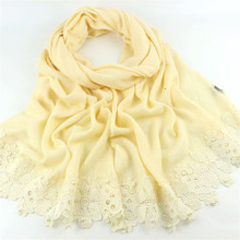 New Women Imitation Cashmere Solid Color Scarf Lengthened Version Lovely Cute Lace Nail Pearl Shawl Female Yellow Fresh Scarves(China)