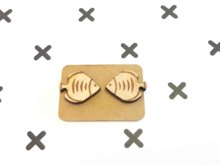 Cute Animal Style Laser Engraved Goldfish Earrings Tropical Fish Stud Ocean Style Wooden Earring X 1 Pair(China)
