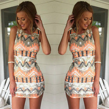 Buy 2018 Printing Sexy Women Dress Ladies Sleeveless Slim Bodycon Evening Party Mini Vest Dresses for $4.78 in AliExpress store
