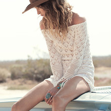 Crochet Hollow Out Knitted Dress With Tassels Sexy Off Shoulder Bohemia One-piece Vacation Smock Dress