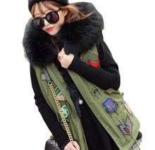 2017 badge logo winter vest jacket women street fashion Large fur collar hooded army green waistcoat T322(China)