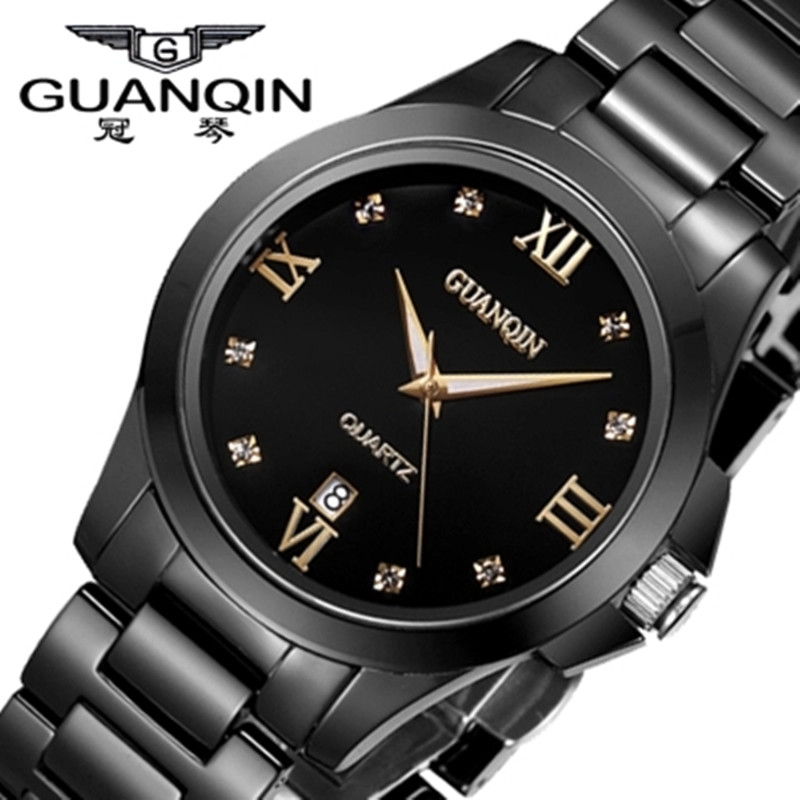Tungsten Steel Men Watch Luxury Brand GUANQIN Men Quartz Watch Waterproof Calendar Clock Wristwatches for Men Relogio Masculino<br><br>Aliexpress