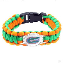 High Quality Florida Gators Football Paracord Survival Bracelet Friendship Outdoor Camping Bracelet 10pcs/lot(China)