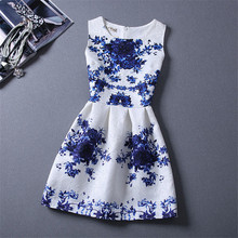 Retail New Designs 2017 Summer Princess Girls Formal Clothes Little Girls Print Floral Dress For Teen Girl Dress Blue and Red
