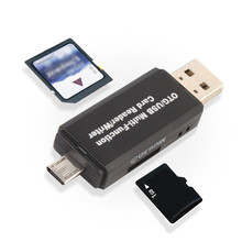 USB 2.0 3 in 1 Multi-function Card Reader SD Card TF Triplet OTG Smart Card Reader Adapter Cable For Mac PC Laptop A8