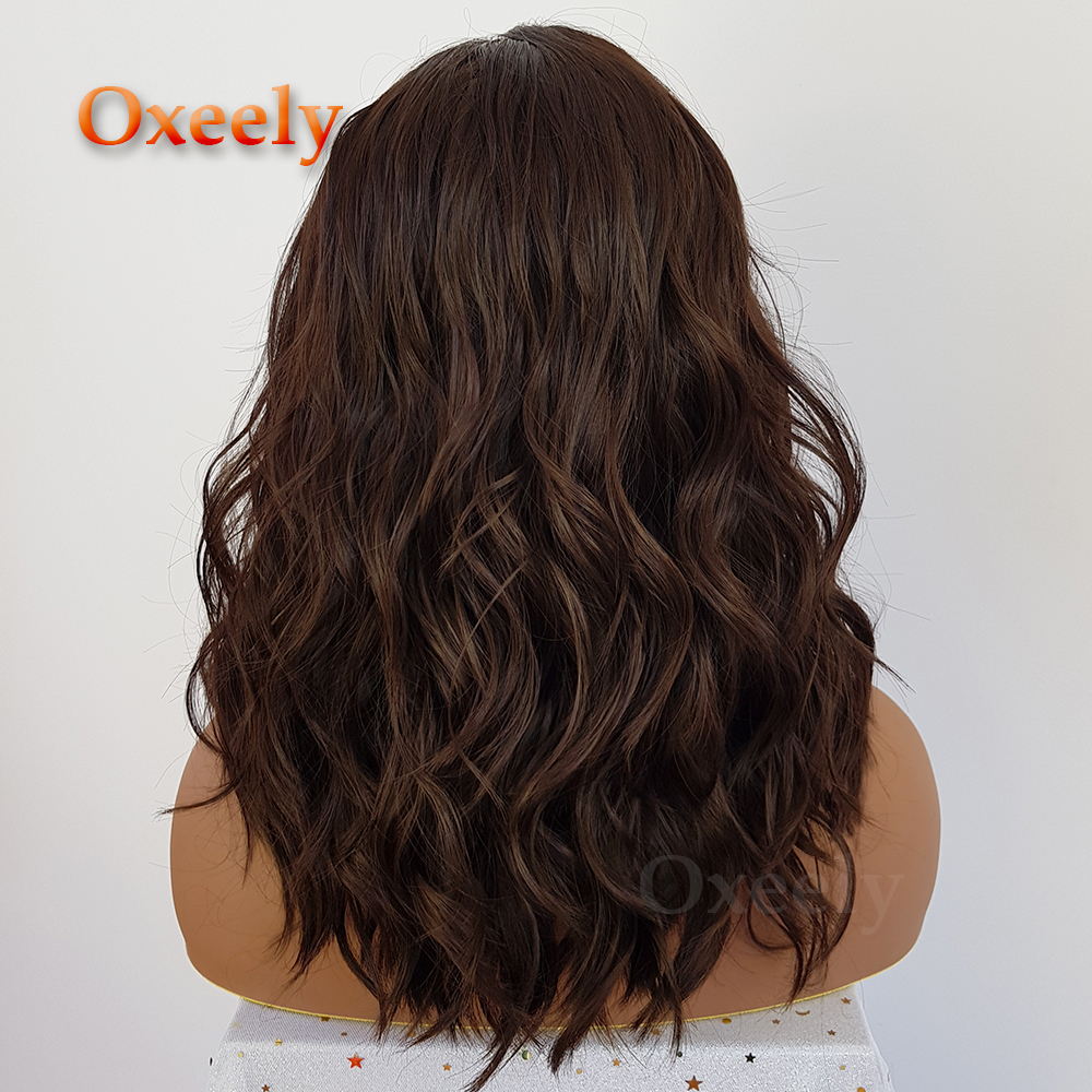 Oxeely Short Wavy Bob Hair Synthetic Lace Front Wigs Brown Color Lob Hair Synthetic Lace Front Wigs for Fashion Women3