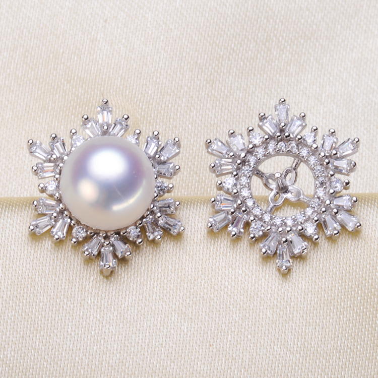 925 Silver Pearl Earrings Mountings Fashion Earrings Charm Earrings Setting Finding Jewelry Parts Fittings Women's Accessories