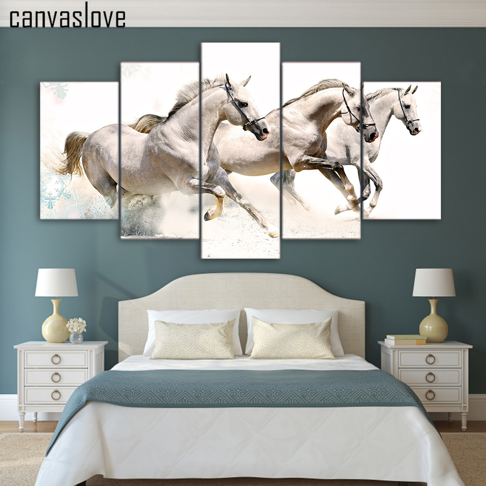Horse sticker wall art - Hd 5 Pieces Canvas Paintings Printed Animal Running Horse Wall Art Canvas Modular Living Room Bedroom Home Decoration Up 030