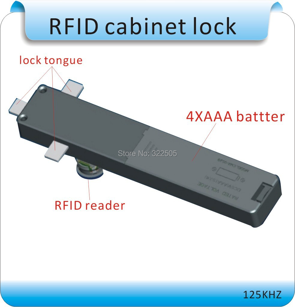Free shipping dry battery 125KHZ RFID Double door ark  locked/ RIFD cabinet  lock +4pcs cards <br>