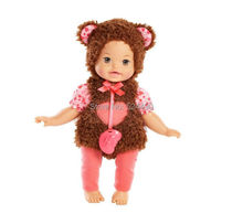 "Original 13"" Little Mommy Dress Up Cutie Reborn Baby Bunny Doll / with Plush Brown & Red Clothes Nipple / Girl Birthday Gift Toy"