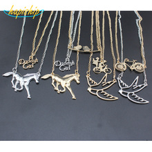 "Hapiship 2017 New Fashion Wome's Jewelry Silver/Gold Tone Jewelry Horse Swallow Bicycle Pendant 16"" Necklace Free Shipping EF00"