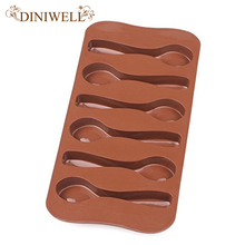 DINIWELL Bakeware Baking Pastry Mould 6-Cavity Spoon Shape Soft Silicone Mold For Chocolate Desserts Ice Cream Muffin Jelly
