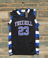 2015 LIANZEXIN NO.23 The film version of One Tree Hill Nathan Scott Need double stitched mesh basketball jersey Black color(China)
