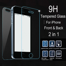 2 pcs/lot Front + Back Premium Tempered Glass for iPhone 5 5C 5S apple 4s 4 Glass Film Anti Shatter Screen Protector + Clean Kit(China)