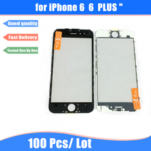 100Pcs Free DHL A+ cold press LCD Screen Front Outer Glass Lens + Frame Bezel and OCA Film Pre-installed for iPhone 6 6Plus(China)