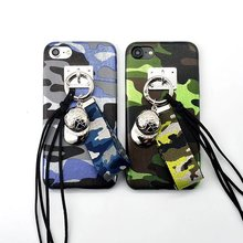 YUANLAM brand 2017 luxury Camouflage baseball cap lanyard Rivets Silicone Couple phone case cover For iPhone 7 7 Plus 6 6S Plus(China)