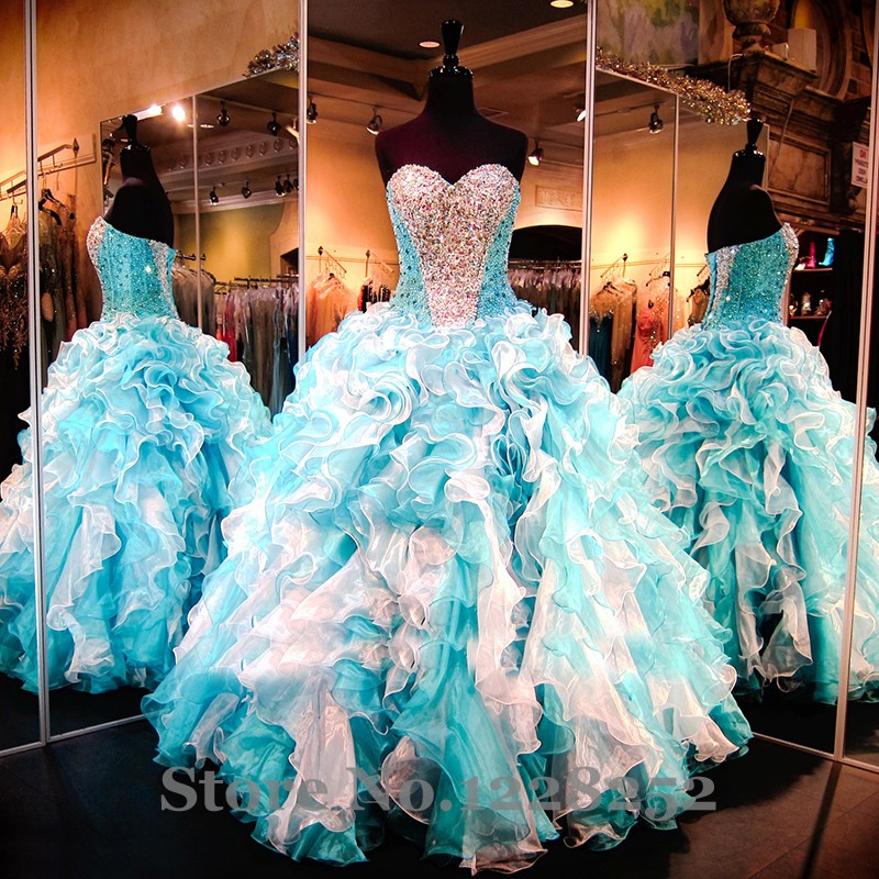 Popular Blue and White Sweet 16 Dresses-Buy Cheap Blue and White ...
