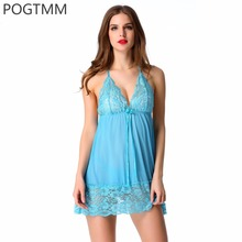 Underwear Lingerie Sexy Hot Erotic Babydoll Dress Gown Women Halter Lace Nighty Sleepwear Porn Sex Costume Intimates Product L15(China)