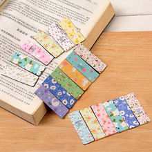 6 pcs/lot Cute Kawaii Flower Paper Bookmarks Creative Noctilucent Magnetic Book Mark School Supplies Free Shipping 2447(China)