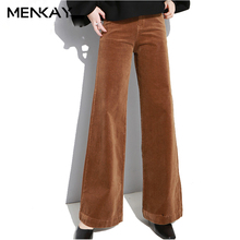 Buy MENKAY Corduroy Palazzo Wide Leg Pants Women Large Size High Waist Full Length Trousers Female Elastic Casual Clothing for $27.81 in AliExpress store