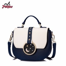 JUST STAR Women's Leather Handbags Ladies Fashion Five Star Rivet Tote Purse Female Leisure Panelled Saddle Messenger Bags(China)