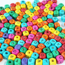 50 pcs/lot Wooden Letter Cube Spacer Loose Beads for DIY craft Jewelry Making Letters Bracelet Necklaces Wholesale