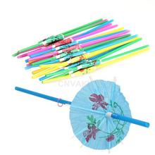 Hot Free Shipping 20 pcs Tropical Umbrella Parasol Luau Cocktail Party Straws