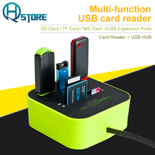 High Speed USB 2.0 Hub 3 USB Ports TF SD Multi-function Card Reader for Apple Macbook Air Laptop PC Tablet