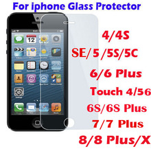 Tempered Glass Screen Protector Guard for ipod touch iphone 4 4S 5 5S 5C SE 6 7 6S 8 Plus X Protective Film Screen Cover Case