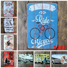 Buy 1Psc Bicycle Painting Tin Plate Commercial Vintage Ride Bike tin Sign Bar Pub Wall Retro Metal Poster Wholesale Plaques for $6.99 in AliExpress store