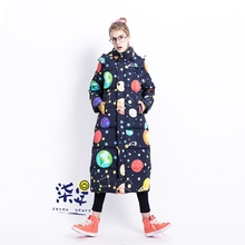 Winter Original Design Women Ultra Long Thick Oversize Hooded Dark Blue Stars Print White Duck Down Jacket Coat Customized(China)
