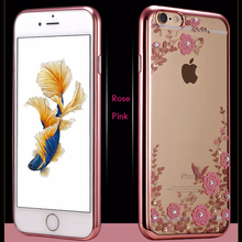 Nephy Rhinestones Plating Case For iPhone 4 4S 5 5S SE 6 6S 7 Plus Clear Transparent Thin TPU Silicone Cover Pink Flower Coque