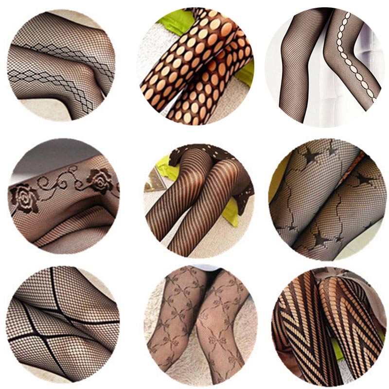 Sexy Women's or Girls, Core Wire Jacquard Club Panties, Knitting Net Thin Pattern Tattoo Fishnet Stockings 9