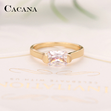 CACANA Long Cubic Zirconia Rings For Women Wedding Trendy Zinc Alloy Rings Jewelry Bijouterie Wholesale  NO.R565