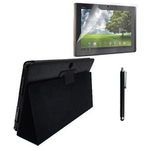 for Asus Transformer TF101 TF201 TF300T TF300 PU Leather Case + Screen Protector + Stylus Pen Eee Pad Prime Flip Stand 10.1''