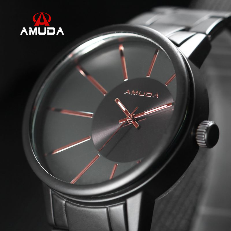 AMUDA Brand Luxury Fashion Men Casual Watches Black Steel Band Sports Male Quartz Wrist Watch Relogio Masculino<br><br>Aliexpress