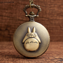 Antique Bronze My Neighbor Totoro Anime Pocket Watch Necklace Retro Quartz Flip Fob Clock Chain Vintage Pendant For Men Women(China)