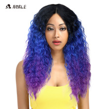 Noble Hair Lace Front Ombre Blonde Wig 26inch Long Curl Kanekalon Synthetic Wigs For Black Women 16 COLOUR Free Shipping(China)