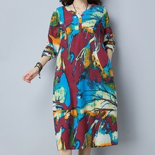 Buy KYMAKUTU National Style Print Jurkjes Loose Autumn Cotton Linen Dress Women Clothing Button Elegant Vestidos Mujer 2XL for $18.45 in AliExpress store